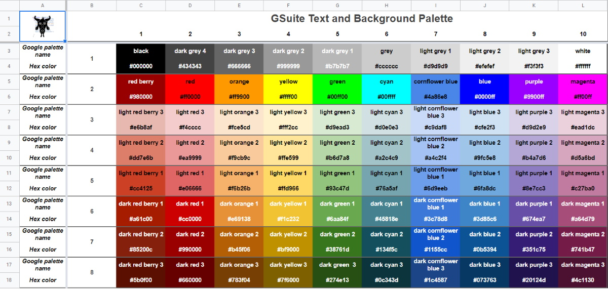 Google Sheets Docs Slides Color Palette