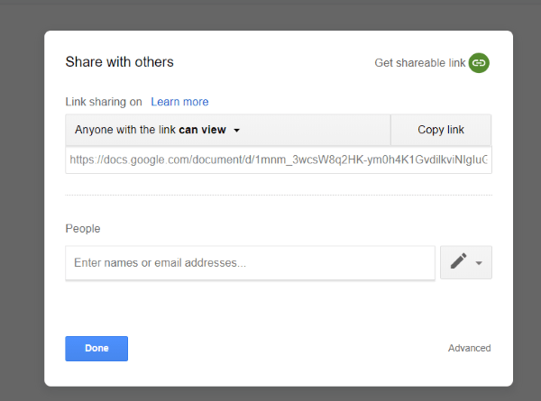 Google sharing settings