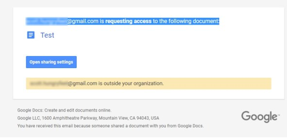 G Suite request for access email