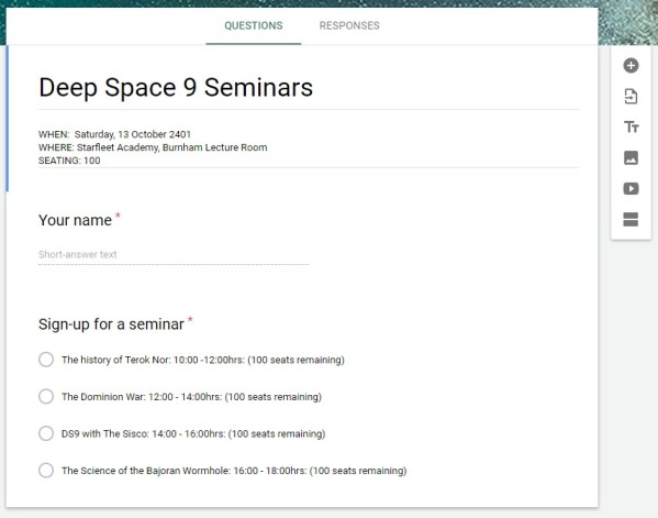 DS9 Google Form Seminar Seating Basic Template