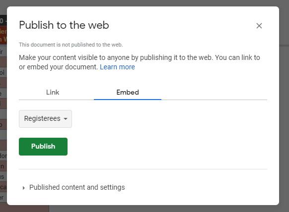 Registeree Google Sheet tab publish to the web