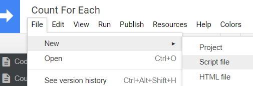 Google Apps Script file new script file
