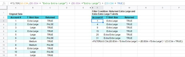 Google Sheets FILTER OR Boolean single column AND extra column
