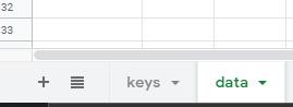 Data and keys sheet tabs Google Sheets
