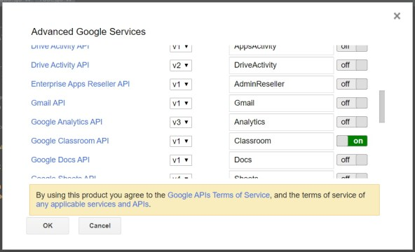 Advanced Google Services API list in GAS console