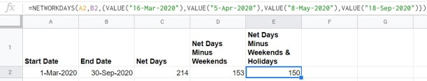 Google Sheets holidays inline NETWORKDAYS
