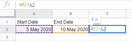 Google sheets End Date minus start date