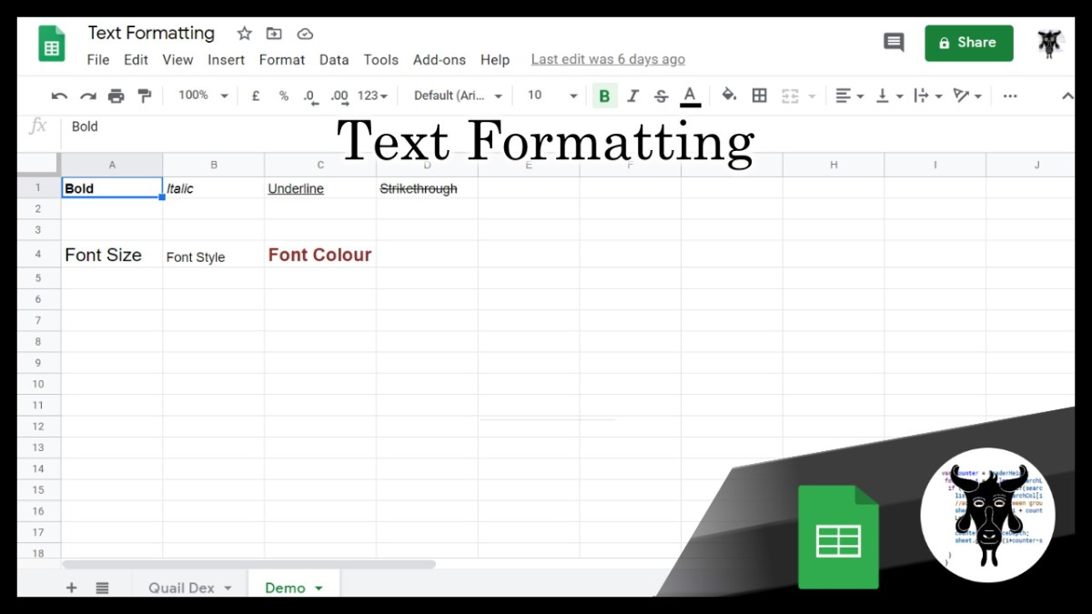 Google Sheets Shorts: Text Formatting (3)