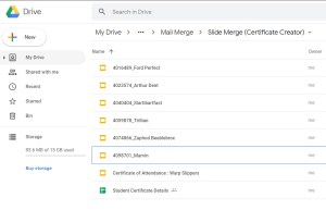 Google Slide Certificate Creation Drive file directory