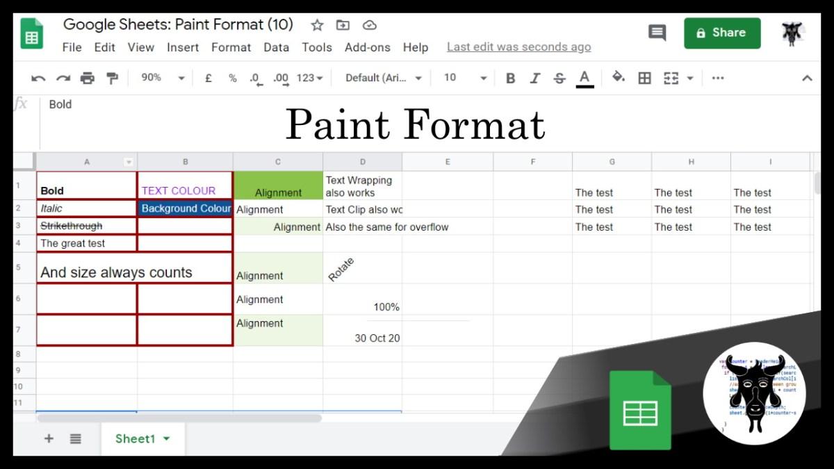 Google Sheets Beginners: Paint Format (10)