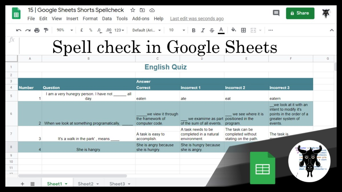 15 Google Sheets Shorts - Spell check in Google Sheets