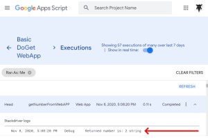Google Apps Script logged data from front end web app