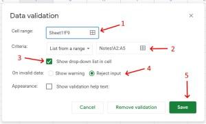 Google Sheets Data Validation popup menu for dropdown