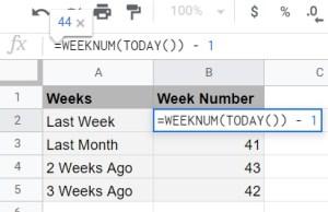 Google Sheets get previous weeks week of year WEEKNUM TODAY