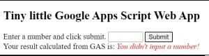 Tiny little Google Apps Script Web App no data condition
