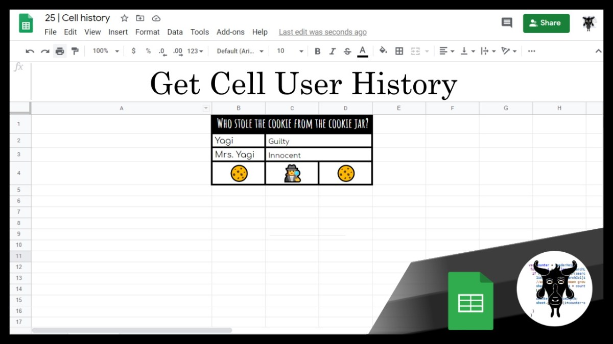 Google Sheets Beginners:  Cell History (25)