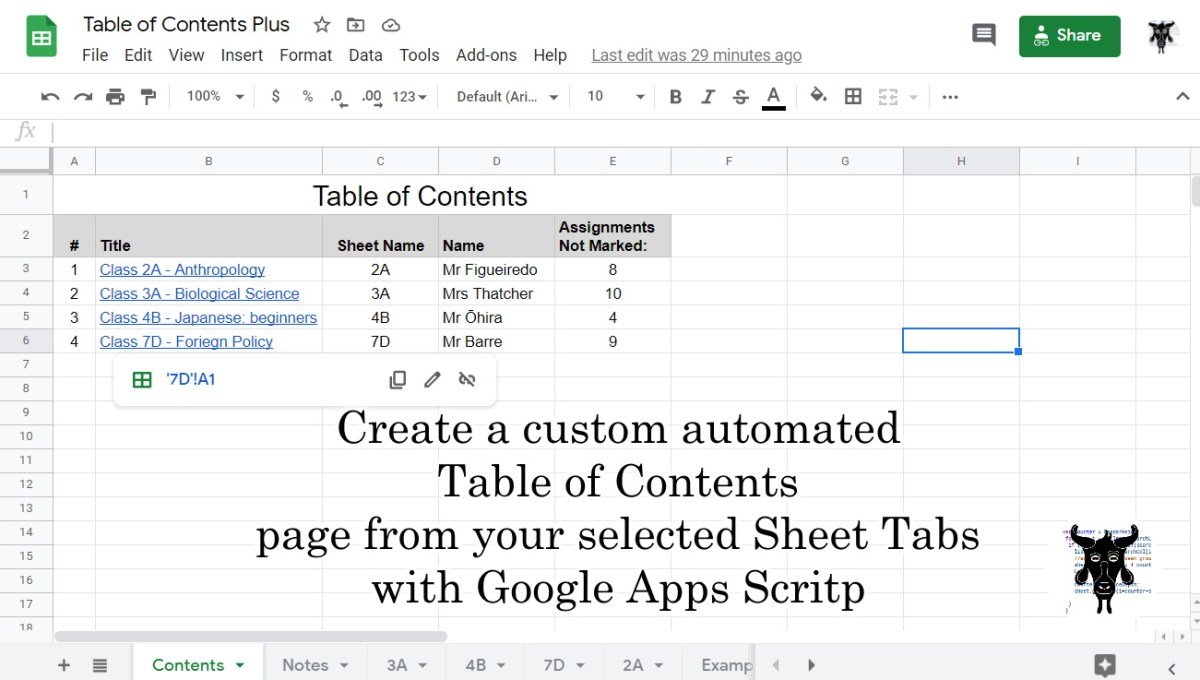Create a custom automated Table of Contents for your Google Sheets tabs with Google Apps Script