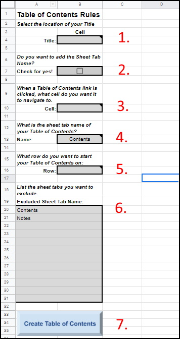Google Sheets Table of Contents setup page