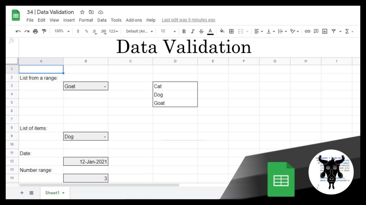 Google Sheets Beginners: Data Validation (34)