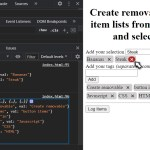 create removable button items from text input or select elements