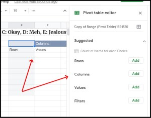 Pivot Table Editor for frequency by percentage in Google Sheets