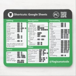 Google Sheets Shortcuts Mousepad