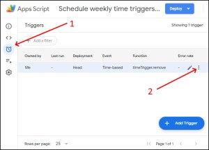 List of triggers in Google Apps Script Editor IDE