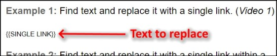 Find a single item of text as a completed paragraph in a Google Doc and replace it with new text and a link Apps Script v2