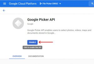 Apps Script Project Settings for GWAO GCP API Library Google Picker Enable