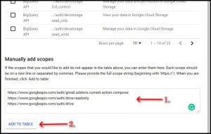 Apps Script Project Settings for GWAO GCP Scope adding 2