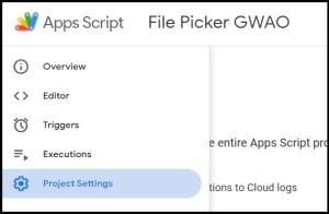 Apps Script Project Settings for GWAO Google Picker