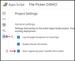 Apps Script Project Settings for GWAO show appsscript JSON