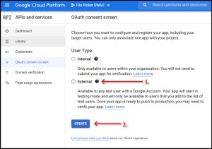 Google Workspace Add-on File Picker GCP nav to OAuth Consent Screen Choose User Type