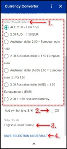Currency Converter Google Workspace Addon Advanced Selection