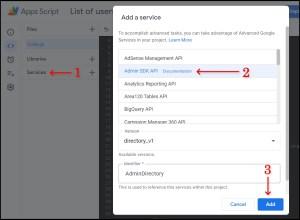 Enable Admin SDK in Google Apps Script Advanced Services