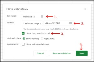 Google Sheets Data Validation dialogue for dropdown menu unlock some absolute reference