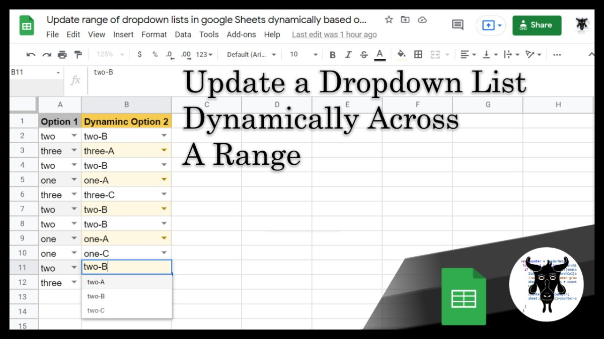 Update a range of dropdown lists in a Google Sheet dynamically based on a corresponding dropdown choice
