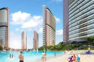 صورة جانبية للأبنية السكنية مع البحيرة