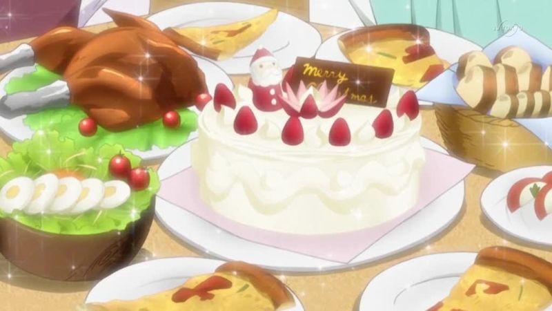 Christmas dishes in the party. (Minami-ke Okaeri ep9)