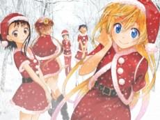 Santa girls, Onodera Kosaki (小野寺 小咲) Tachibana Marika (橘 万里花) Kirisaki Chitoge (桐崎 千棘) Tsugumi Seishirou (鶫 誠士郎) Miyamoto Ruri (宮本 琉璃). (Nisekoi)