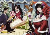 Watanuki Kimihiro (四月一日 君尋) Ichihara Yuuko (壱原 侑子) Doumeki Shizuka (百目鬼 静) Kunogi Himawari (九軒 ひまわり) are celebrating Chiristmas party. (xxxHolic)