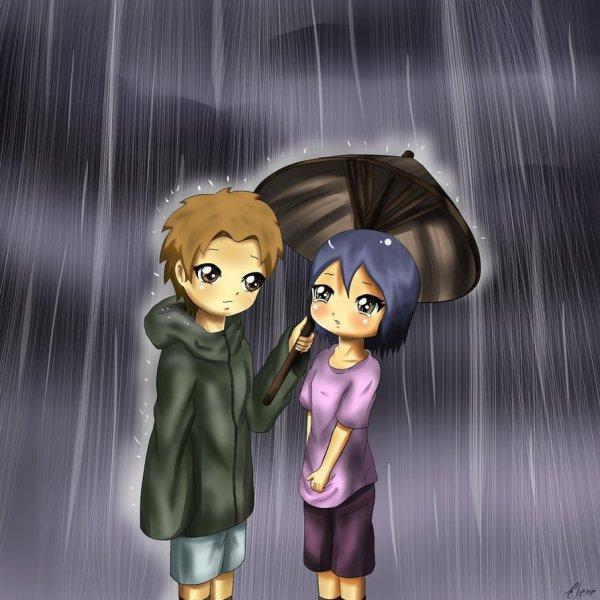Яхико и Конан под зонтом на сайте про Яхико