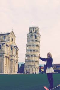 Amy supporting the Tower of Pisa's lean