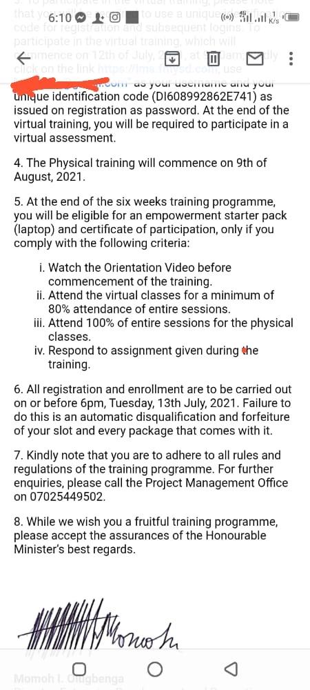 List Of Successful Candidates shortlisted for Digital Youth Nigeria (DYNG) Training Programme 2021: https://fmysd-esp.com