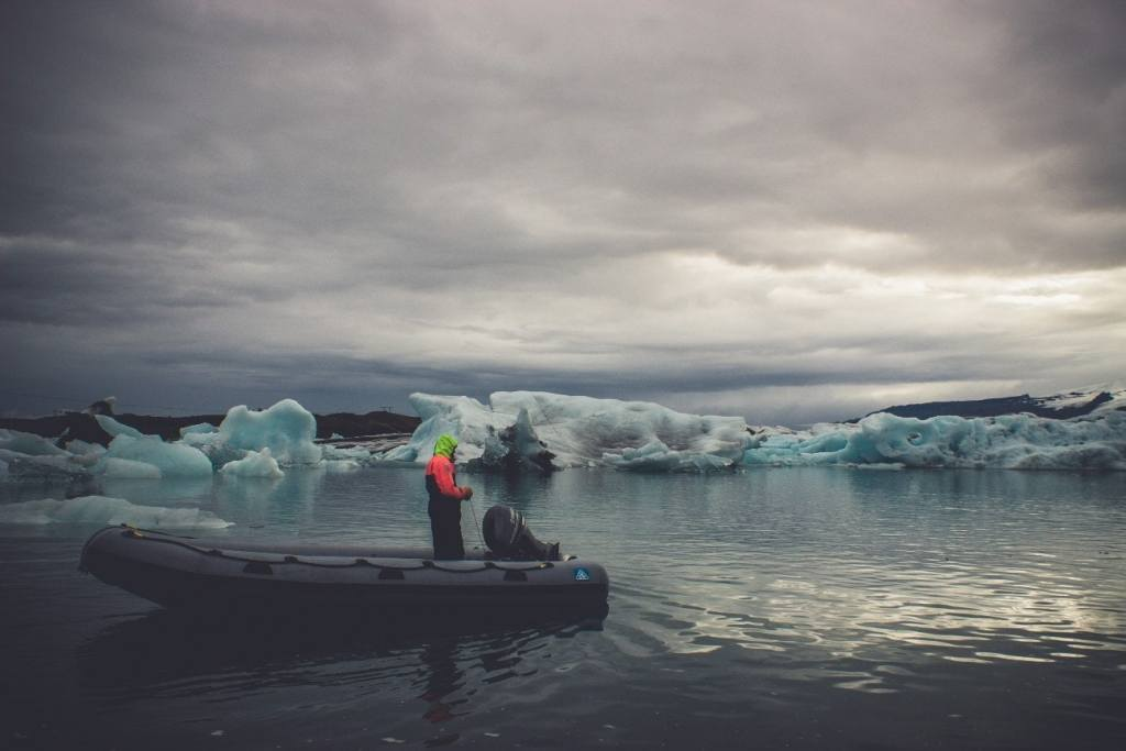 Inflatable Boat near Ice