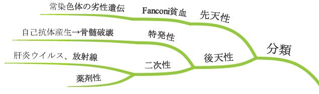 再生不良性貧血の原因 分類 Fanoni貧血 先天性 後天性 薬剤性 特発性