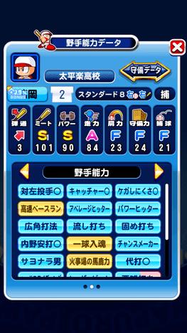 パワプロアプリ 太平楽強化 センス○野手サクセス 能力