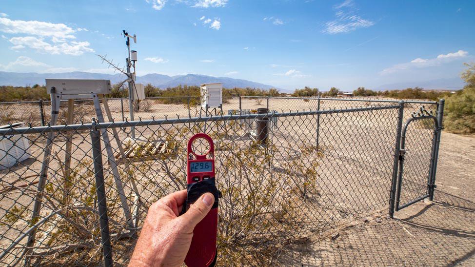 Death Valley temperature reading