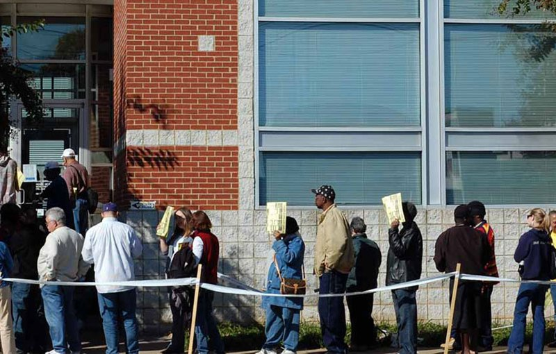 People in line to vote