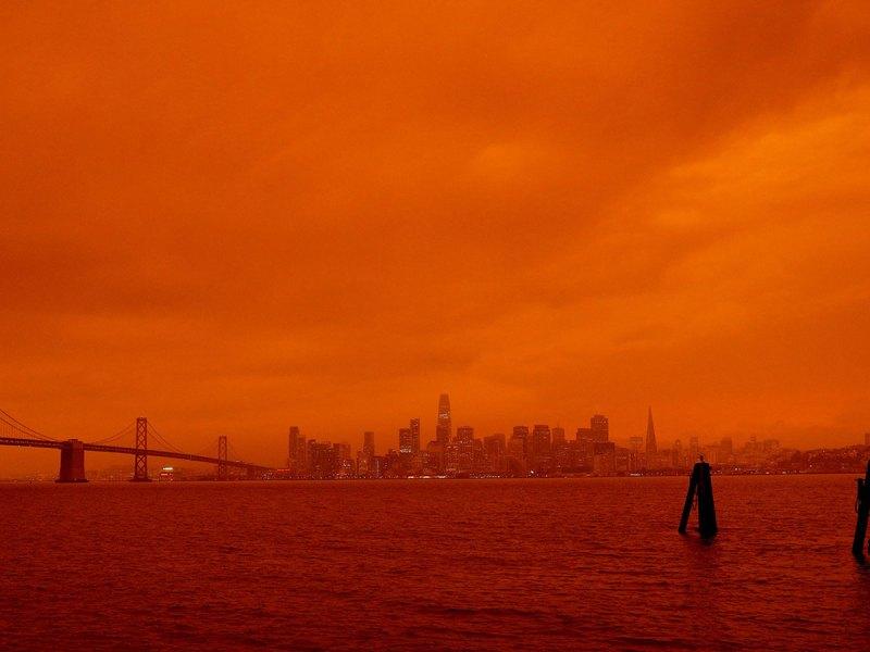 Orange sky from wildfire